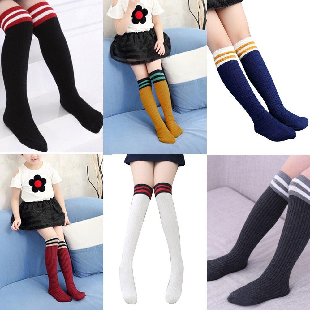 Baby Kids Toddlers Girls Knee High Socks Tights Leg Warmer  For Age3-11 Girls Striped Knee High Socks