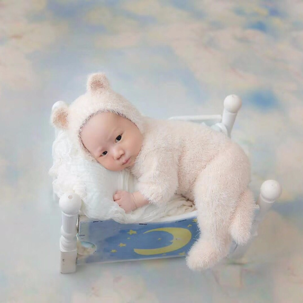 Christmas Newborn Footed Overall Baby girl Hooded romper bonnet set Infant Sitter outfit photography props