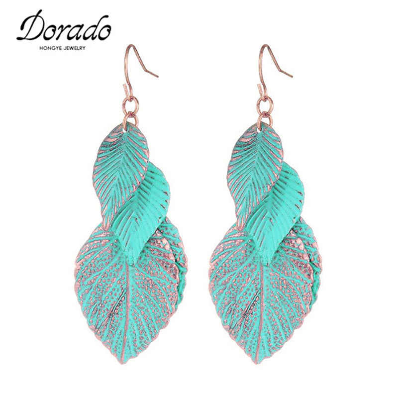 Green Enamel Leaf Drop Earrings For Women Gold Color Alloy Bohemia Female Dangle Hanging Earring Fashion Ear Jewelry Brincos