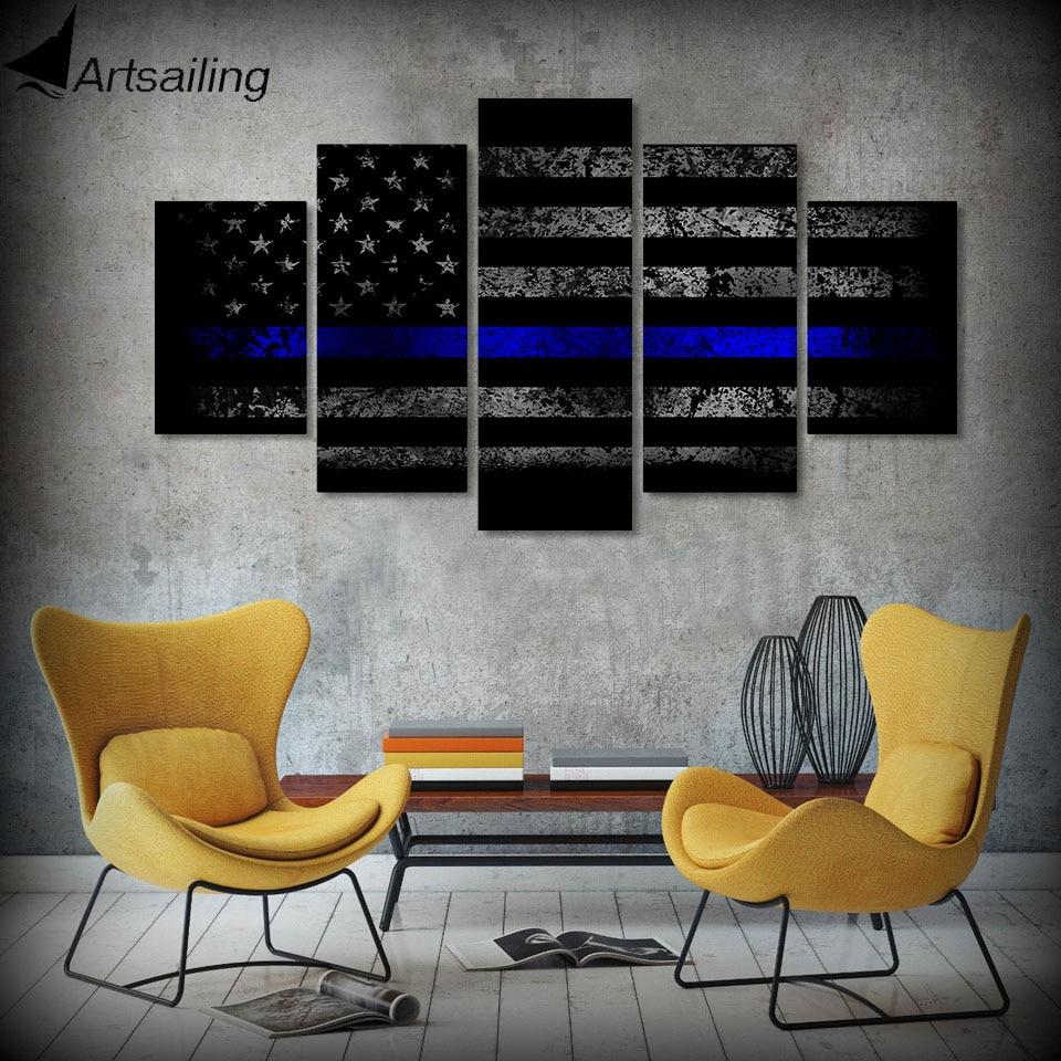 5-dílné plátno Art USA Flag Blue Line Printed Wall Art Home Decor Canvas Painting Picture Poster and Prints Doprava zdarma HA004C