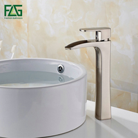 FLG Free Shipping Basin Faucet Nickel Brushed All copper Deck Mounted Single Lever Vessel Faucet Bathroom Tap Sink Mixer 144 22N