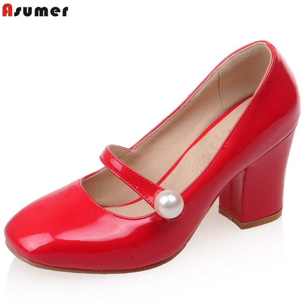 ASUMER black white red fashion spring autumn ladies shoes square toe casual thick heels women high heels shoes big size 34-43 2016 spring and summer free shipping red new fashion design shoes african women print rt 3