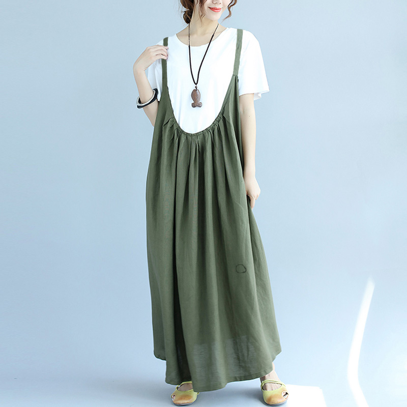 M-5XL 2018 ZANZEA Women Summer Sleeveless Casual Loose Cotton Linen Overall Dress Strappy Suspenders Party Solid Long Vestido