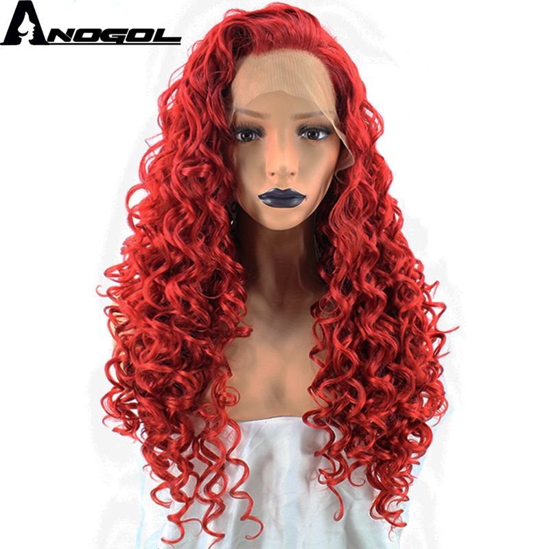 Anogol High Temperature Fiber Glueless Perruque Full Red Hair Wig Long Kinky Curly Synthetic Lace Front