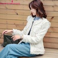 Pearls Button Pockets Lurex Tweed Tassel Wool Coat Spring Autumn Ladies Short Casual Work Office Jacket