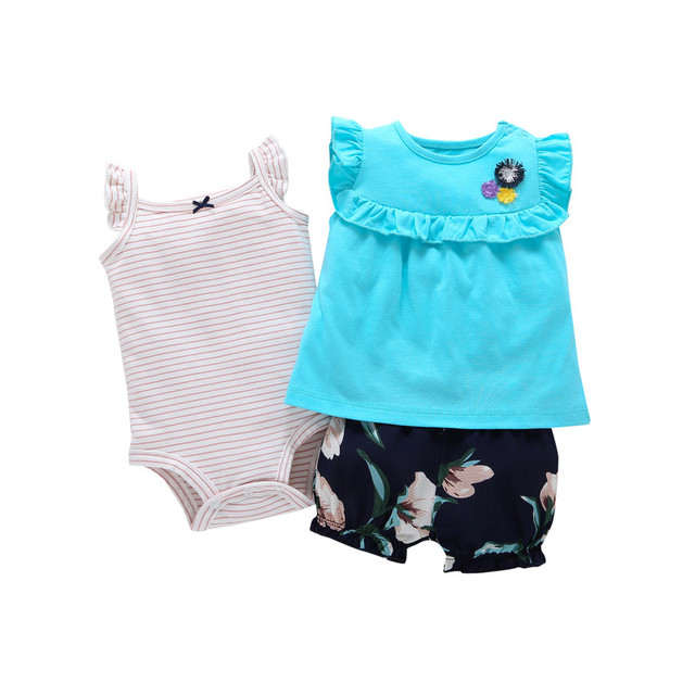 2019 Hot Sale Fashion Cotton Floral Baby Clothing Set Babycotton Rompers Girls Hot Girl Clothessummer Style Sets 3 Pieces 1