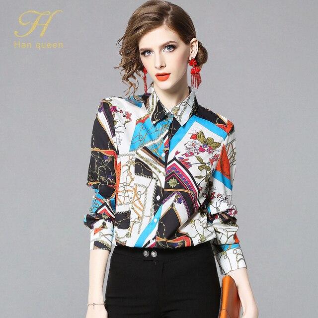 1624b88b4d8e3 H Han Queen 2019 Spring Women Business Shirts Elegant Print OL Office Work  Blouses Casual Vintage