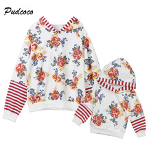 2017 Fall Autumn font b Mother b font and Daughter Floral Hooded Tops Woman font b