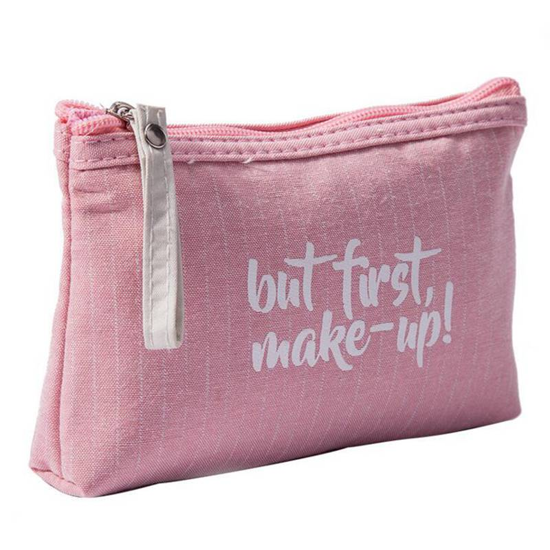 Letter Pattern Canvas Women Cosmetic Bag Travel Storage Organizer Makeup Beauty Bag Zipper Toiletry Make Up Case Dropshipping