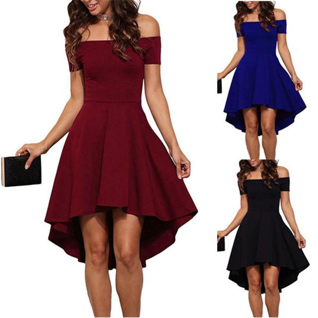 2017 Summer Off Shoulder Party Dress Sexy Elegant Bodycon Club Dress Red Black Blue Casual Vintage Midi Dresses Plus Size