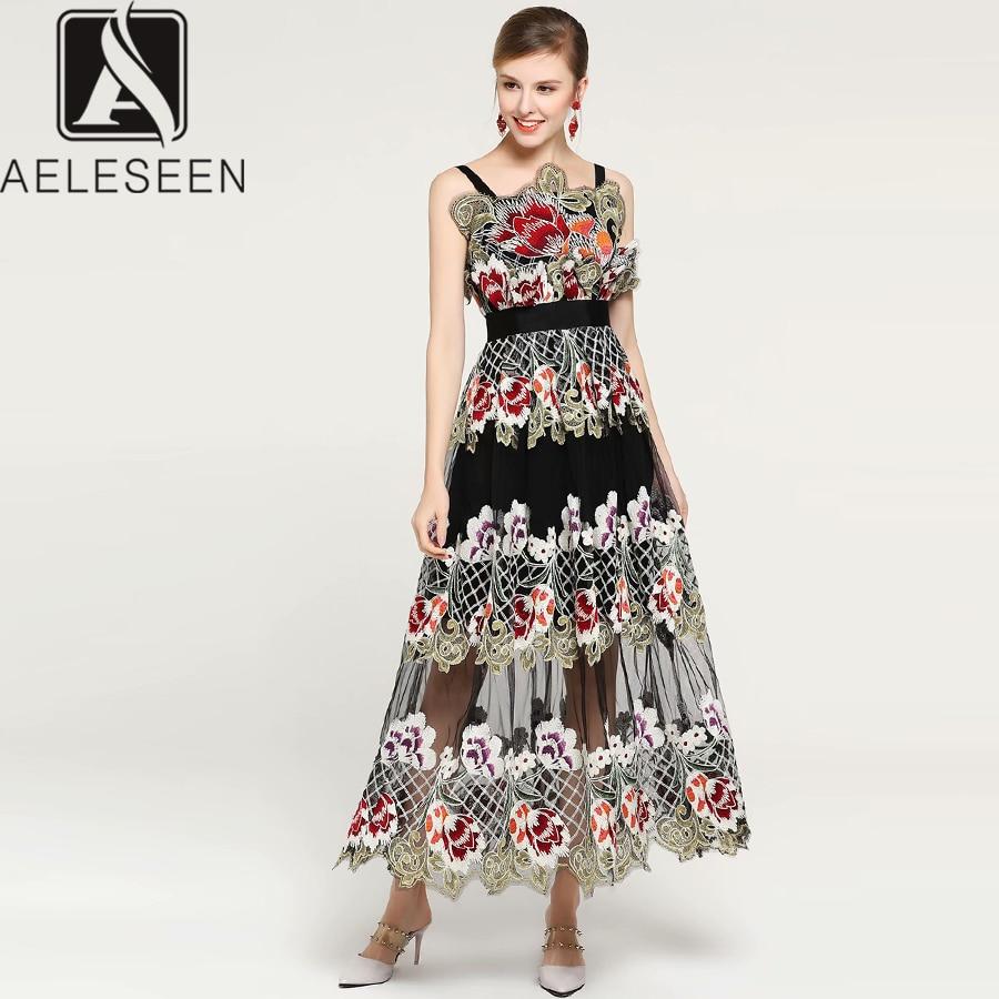 AELESEEN Boho Designer Dress 2019 Summer Women s Spaghetti Strap Flower Embroidery Mesh Patchwork Mid Calf