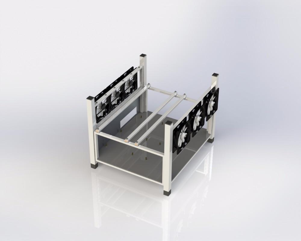 6 GPU Open Air Mining Case Computer ETH Miner Frame Rig 6x Fan ...