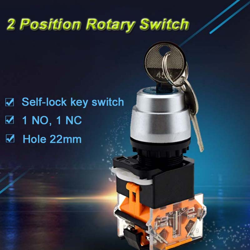 2 position momentary/lockable latching rotary key switch 22mm mountable neck 2NO/2NC/1NO 1NC for your choice