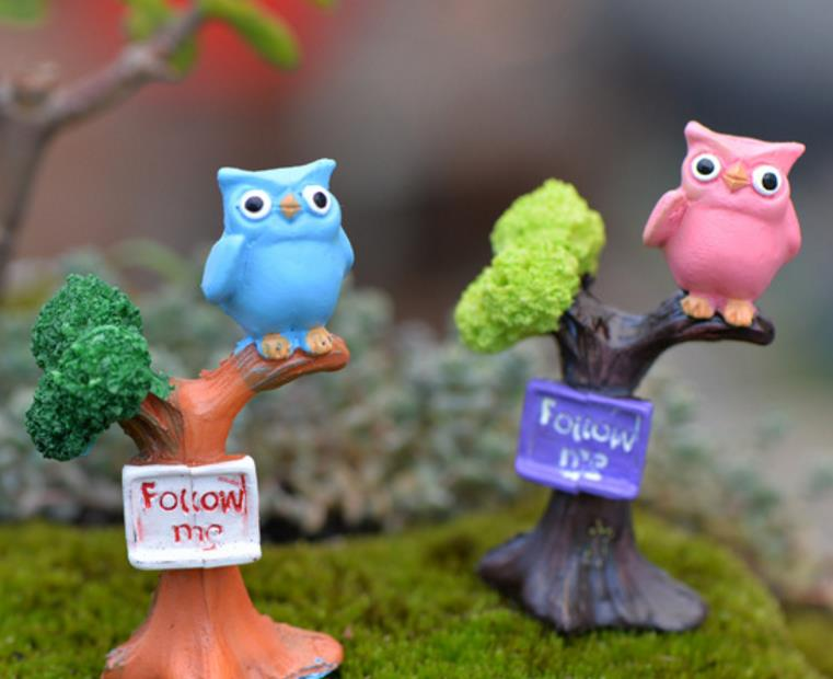 1 Pc cute Branch owl Resin Craft Figurines Miniatures DIY Mini Ornament Doll House Accessories Figure toy gift-1