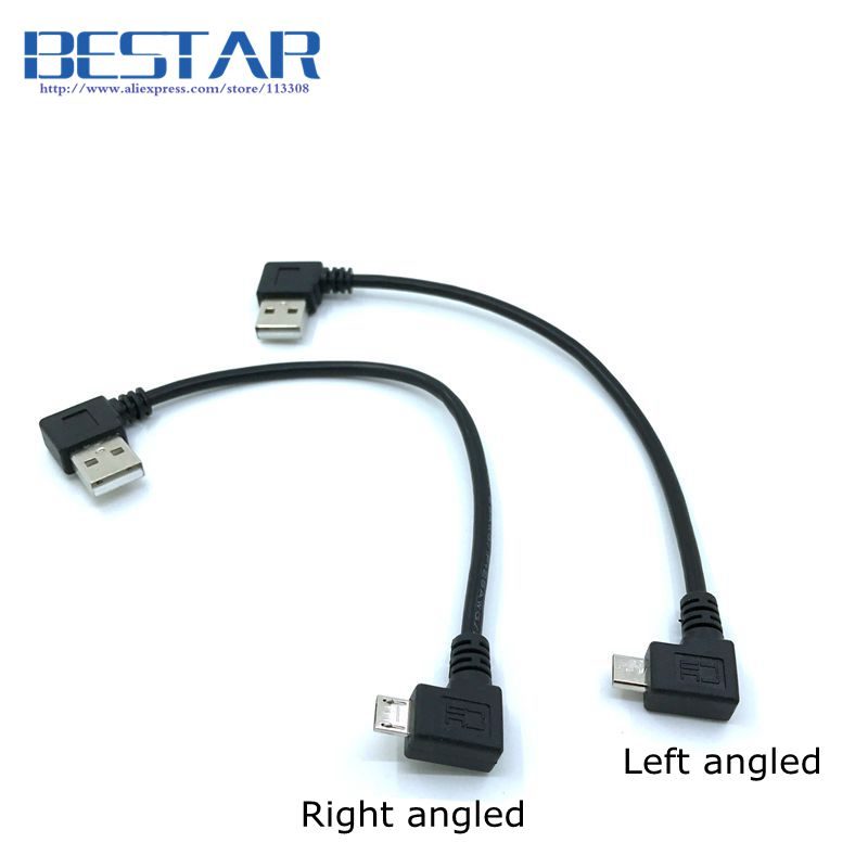Left Right Angled 90 degree Micro USB Male to USB Left angled Data Charge Cable 0.2m 20cm short Micro-USB angle Cables cy dp 082 le 1080p left angled 90 degree mini displayport to hdmi cable for hdtv black 150cm