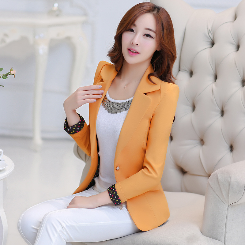 Ladies jacket 2017 new style ladies spring and autumn coat solid color fashion Slim casu ...