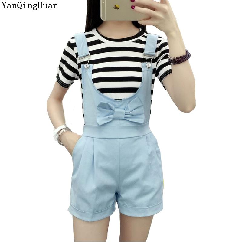 New Brand YAN QING HUAN 2018 New Summer Cute Girl Style Cowboy Pure Blue Strap Shorts Loose Thin Bow Harajuku Girl Strap Shorts