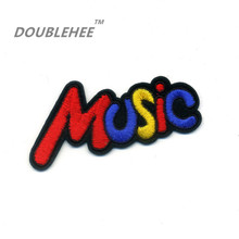 DOUBLEHEE 6.8cm*4.5cm Embroidered Iron On Patches Colorful Music Letters Design Motif T-shirt Bags Applique Accessories