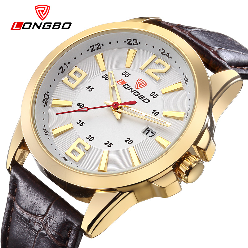 LONGBO Luxury Leather Strap Brand Watches Sports Men Waterproof Business Watch Top Quartz Male Watch Dress 80205 longbo men military watches complex big dial leather strap wristwatch male outdoor sports quartz watch life waterproof uhren men
