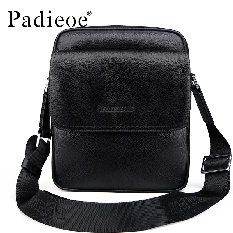 Padieoe 2017 New Hot Men Shoulder Bags Brand Genuine Leather Messenger Bag Men's Business Casual Travel Crossbody Bag Free Ship 2017 new brand crocodile genuine leather men travel bags leisure laptop solid men shoulder bag business men messenger bags a1368