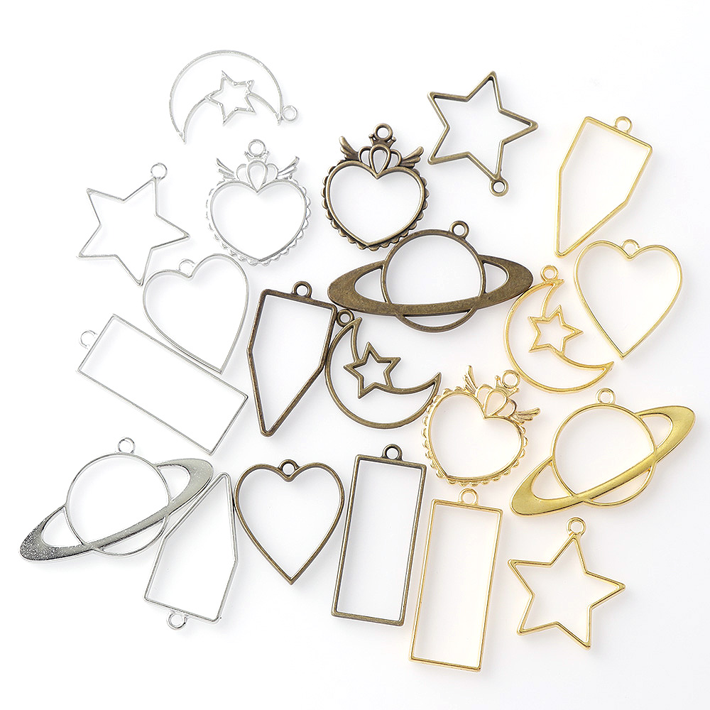5PC/3pc Mix Heart Star Vintage Rectangle Moon Shape Antique Metal Hollow Frame Charms Pendant DIY Jewelry Findings Accessories
