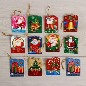 12pcs/lot Christmas Santa Claus Mini Greeting Cards Message Card Holiday Blessing Card Christmas Tree Hanging Ornaments Decor