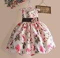 Новый 2017 Девушки Летнее Платье Роуз Цветочные Дань Шелковый Дети Платья для Девочек День Рождения Размер 1-6 Т vestidos infantis