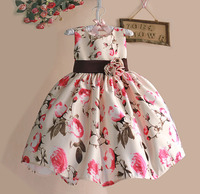 New 2015 Girls Summer Dress Rose Floral Tribute Silk Kids Dresses For Girls Birthday Party Size