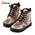 Boots Girls Kids 2017 Winter New Floral Printing Children Boots Girls Plus Velvet Warm Kids Shoes Insole 16-22cm 9398W