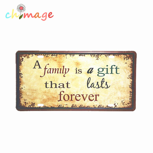 A FAMILY IS A GIT THAT LASTS FOREVER CAR LICENSE PLATE Vintage Tin ...