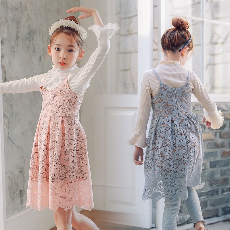 2017 Spring Autumn Two pieces Big Girl Lace Dress Clothes Sets Solid Cotton princess Full Kids Dresses For 2-15y Girls Suits