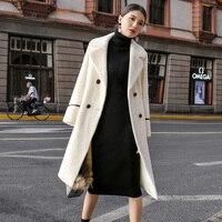 Luxury Long Warm Women Winter Coat Gold Mink Cashmere Coat Jacket Long Sleeve Double Breasted Women Overcoat Outwear S 3XL G514