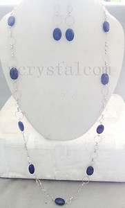 Natural Oval Lapis Stone Necklace Earrings Set Stainless Steel Link Chain Long