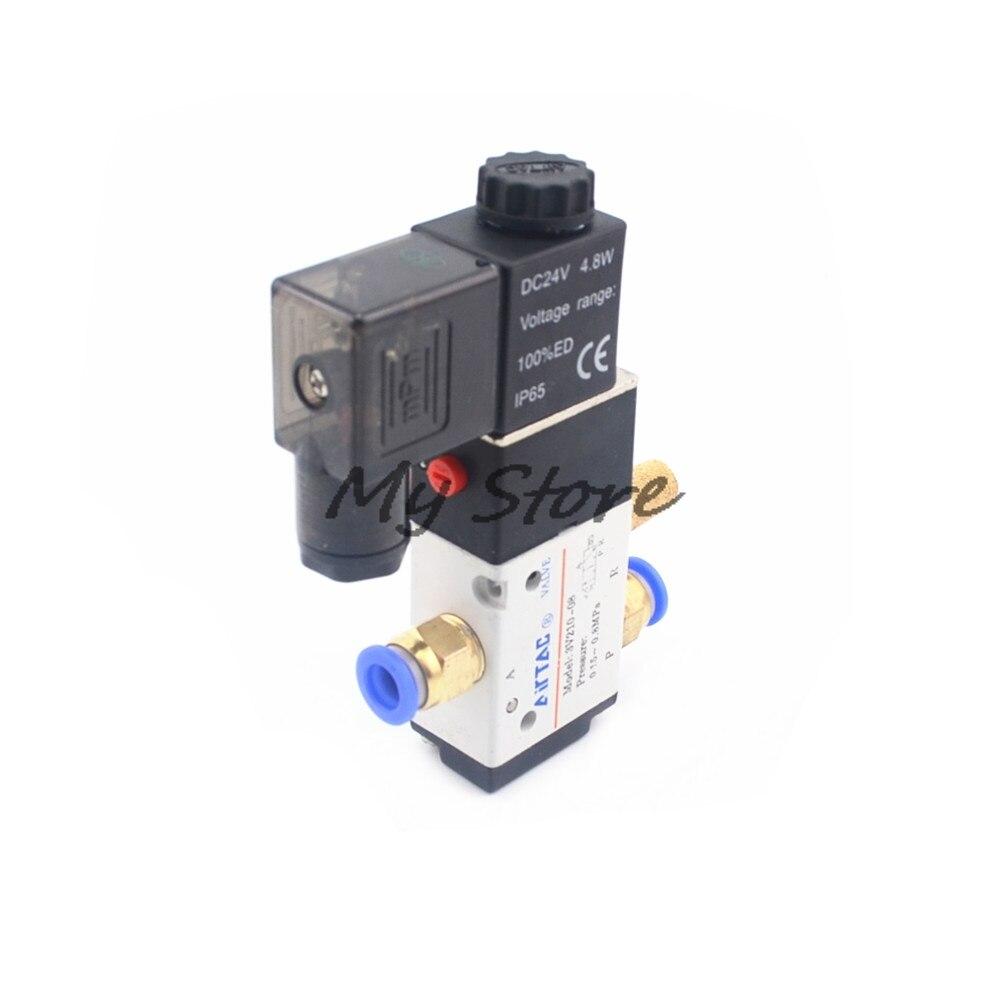 Pneumatic 3 Way 2 Position Air Directional Control Solenoid Valve 3V210-08 DC12V DC24V AC110V AC220V Pneumatic Fittings Muffler
