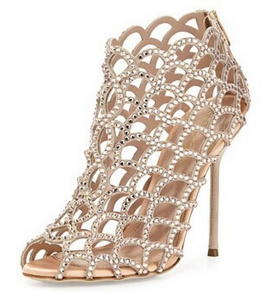 051ee18a4e9 Bling Bling Wedding Shoes Sandalias Peep Toe Sexy High Heels Cut-outs  Rhinestone Ladies Shoes Summer Sandals