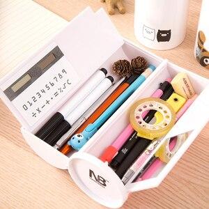 Image 2 - 새로운 kawaii 연필 케이스 거울 계산기와 더블 레이어 펜 상자 학교 용품에 대한 화이트 보드 펜 와이퍼 화장품 케이스 etui