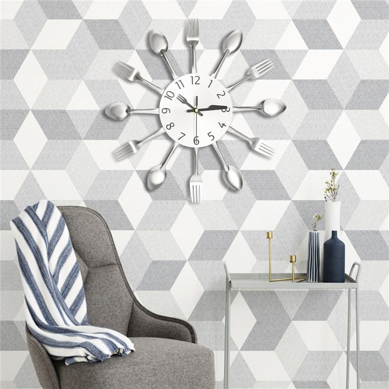 charminer cucina moderna orologio da parete sliver orologi cucchiaio forchetta adesivi murali meccanismo di design per