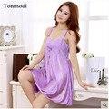 Camisolas Das Mulheres do Verão Elegante de luxo Roxo de Seda Noite Meninas Vestido de roupa de Dormir Sexy Sleepshirts Salão Camisola das Mulheres