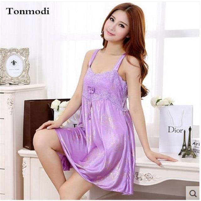 Nightgowns Women Summer Elegant Luxury Purple Silk Night Dress Girls