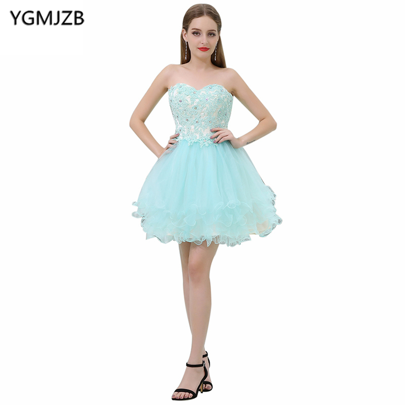 Cocktail     Dresses   2018 Ball Gown Sweetheart Beaded Appliques Lace Short Prom   Dresses   Sexy Mini Robe De   Cocktail   Party   Dress
