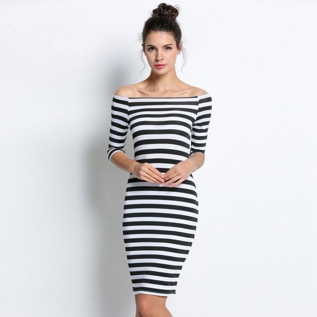 FANALA Women Bodycon Dress Sexy Summer Dress Plus Size 2017 Off Shoulder Striped Office Cotton Beach Party Clubwear Wrap Dresses