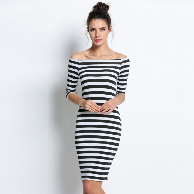 dbf48aebfc5 FANALA Women Bodycon Dress Sexy Summer Dress Plus Size 2018 Off Shoulder  Striped Office Cotton Beach