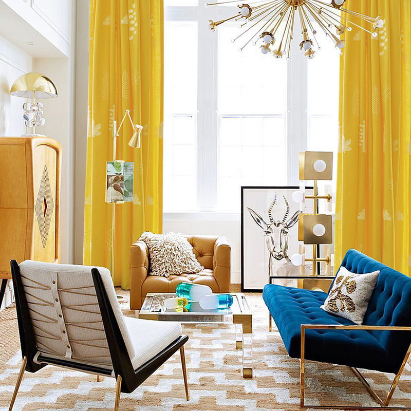US $19.6 44% OFF|Blackout Curtains for Living Room Yellow Curtain with  Embroidery Leaves Cotton Linen Curtain Solid Drapes Blinds White Tulle-in  ...