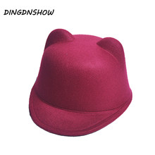 [DINGDNSHOW] 2018 Fashion Fedora Hats Winter Kid Wool Cap Cartoon Lovely Ear Warm Bowler Derby Hat Children for Boy and Girl(China)