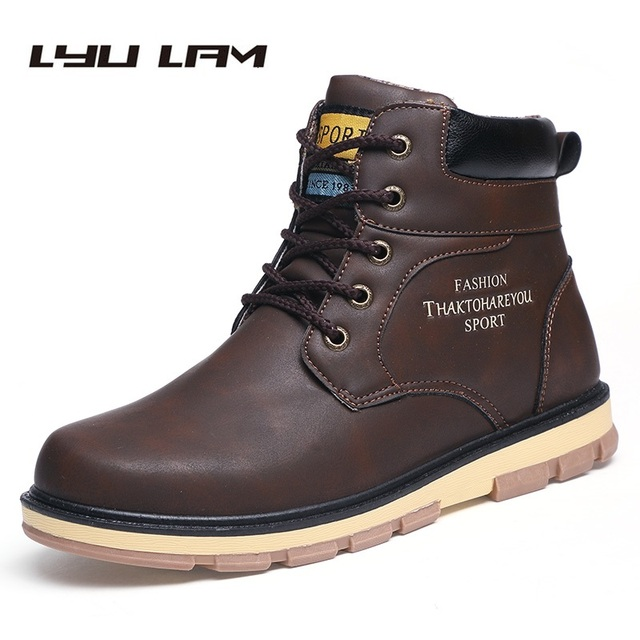 Spring Autumn Winter Men Boots Faux Leather Dress Boots Suede Casual Men Shoes Warm Botas Brand Black Male Suede Ankle Snow Boot