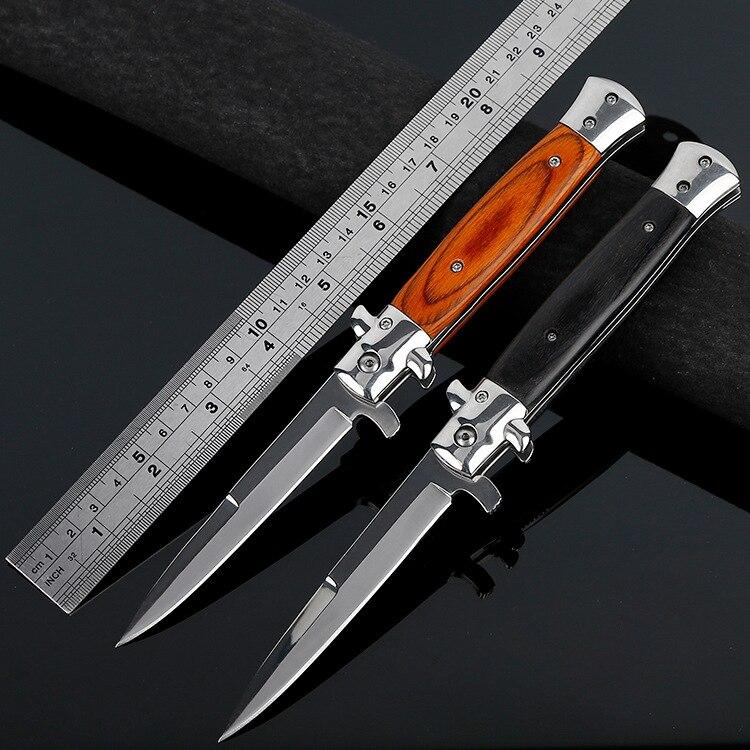Cuchillo de hoja plegable hoja de alta dureza cuchillo que acampa de la manija de madera al aire libre Acero inoxidable cuchillos envío gratis