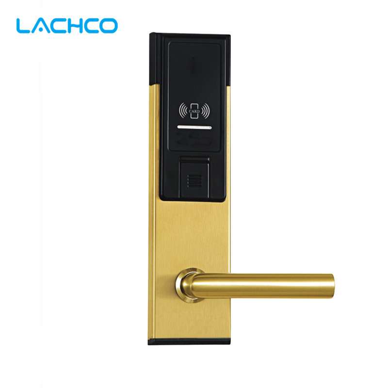LACHCO Electronic RFID Card Door Lock with Key For Office Apartment Hotel Home Latch with Deadbolt  L16021SG lachco card hotel lock digital smart electronic rfid card for office apartment hotel room home latch with deadbolt l16058bs