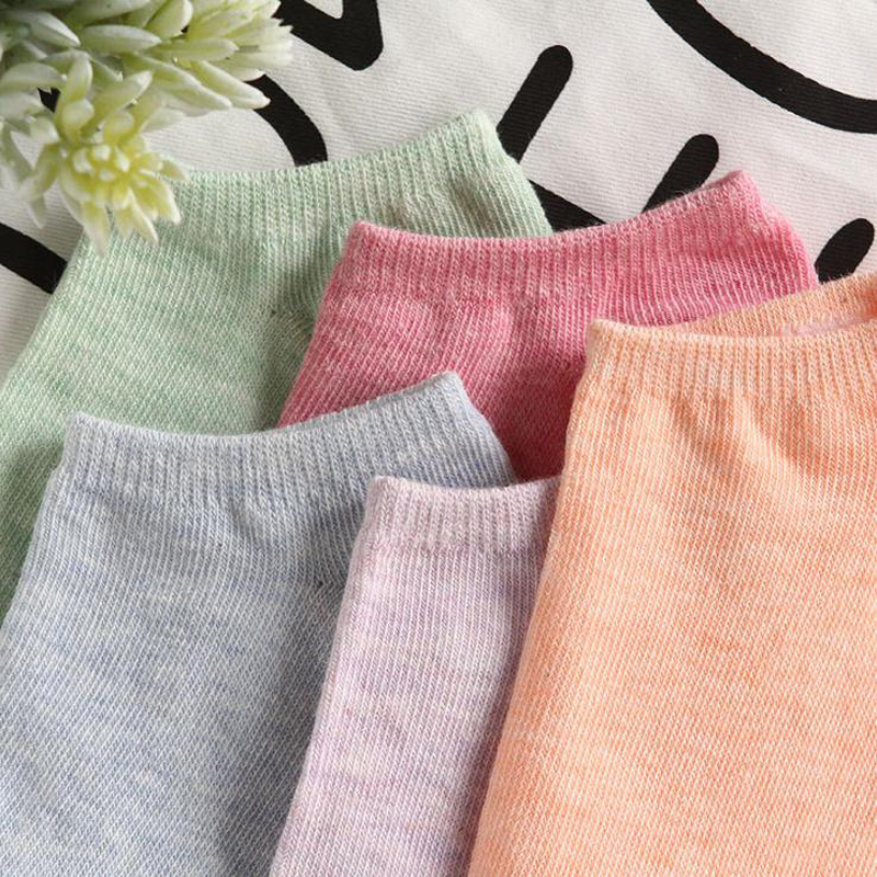 New Summer Women Socks, Casual Cute Solid Cotton Sock, Candy Color Fashion Ankle Boat Low Cut Short Socks