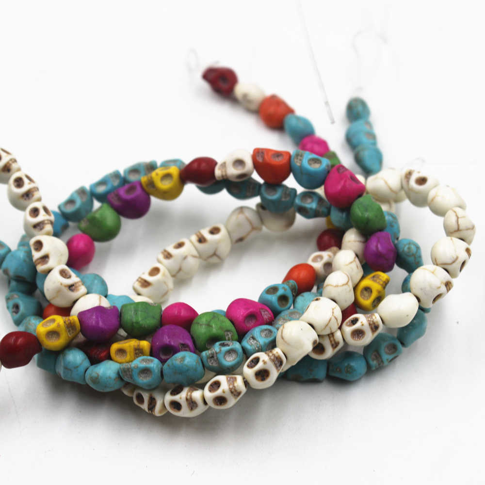 Hot Beads 8MM Colorful Skull Natural Stones Round Spacer Loose Beads For Necklace Bracelet Charms  DIY Jewelry Making  50 PCS