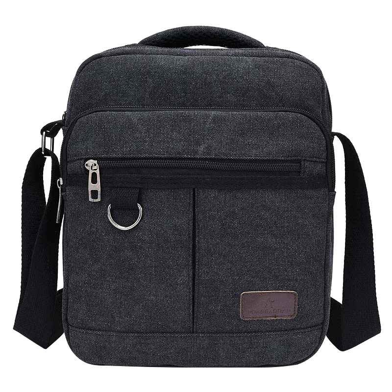 Solid Canvas Casual Men's Handbags Crossbody Zipper Design Men's Flap Single Shoulder Bags Multifunction Travel Bags canvas rivet single shoulder bags vintage fashion solid zipper male crossbody bag luxury casual handbags men travel package